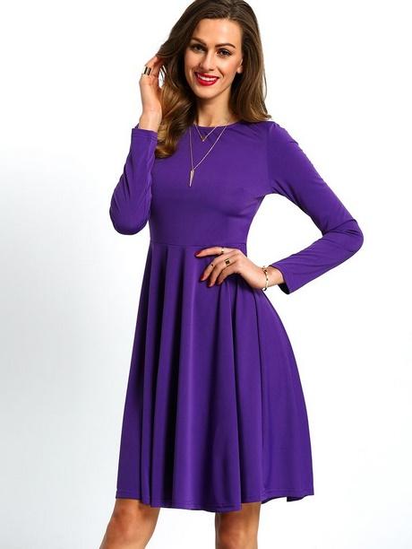 Purple Long Sleeve Skater Dress