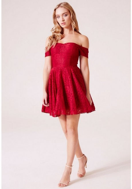 Red Lace Skater Dress With Sleeves