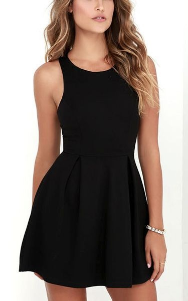 Simple Black Skater Dress