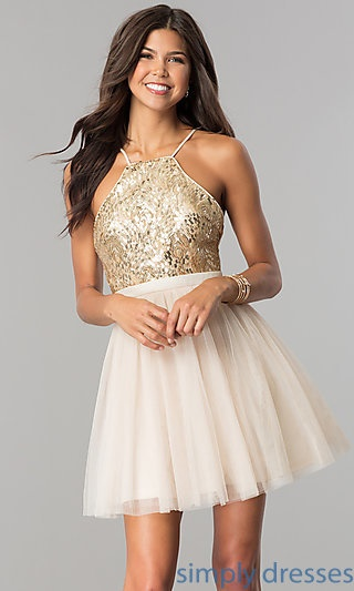 White and gold cocktail dress