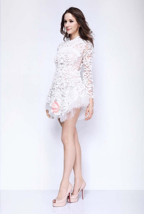 white long sleeve homecoming dress