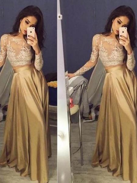 Long Sleeve 2 Piece Prom Dress