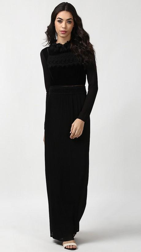 Long Sleeve Black Velvet Dress