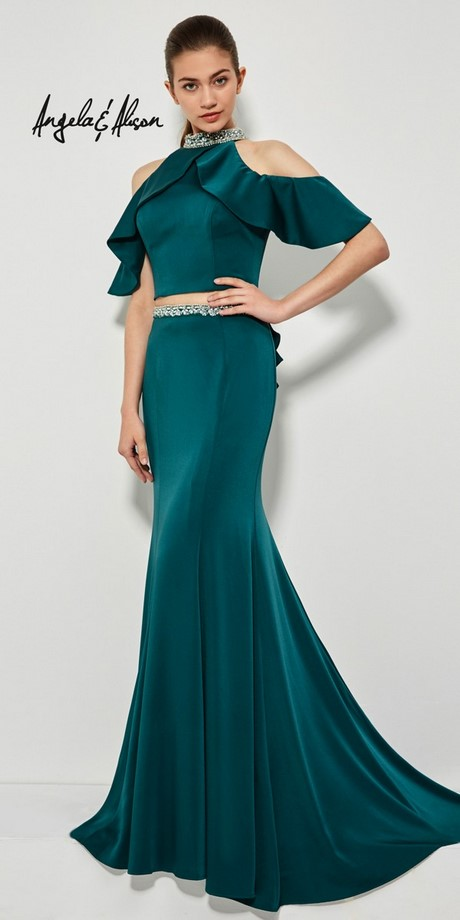 Two Piece Teal Prom Dress