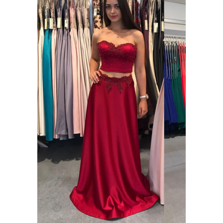 Unique Lace Two Piece Ball Gown Prom Dresses Girls Satin Black Red Prom  Dress Long Sleeve Prom Gowns For Party Dresses RT54-in Prom Dresses from  Weddings … 6d625cb16dff
