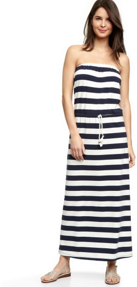 Blue And White Striped Maxi Dresses