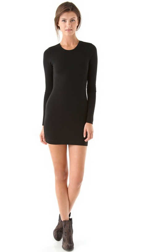 Long Sleeve Tight Black Dress
