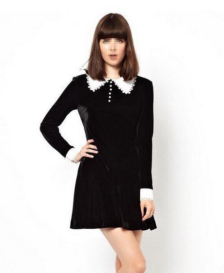 Black Dress With White Collar