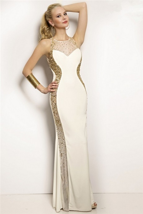 Gold and white prom dresses