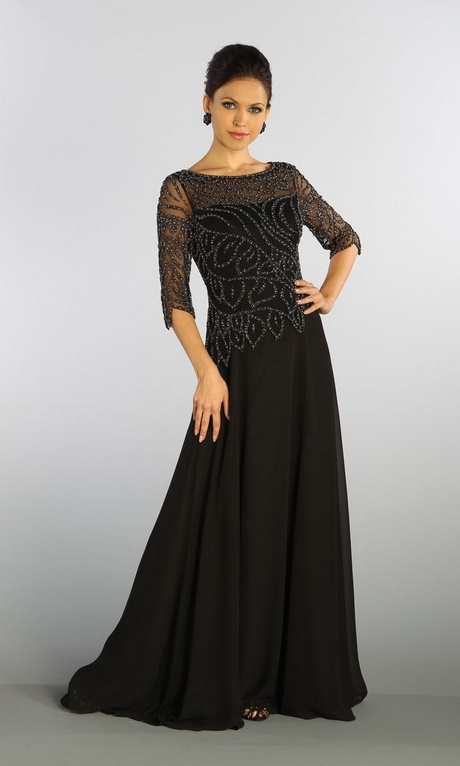 Long black mother of the bride dresses
