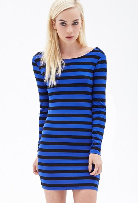 Blue And Black Striped Dress