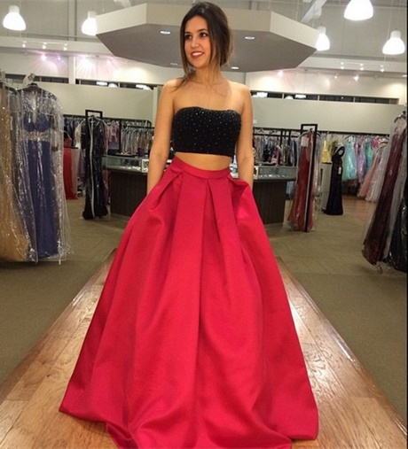 Red And Black Two Piece Prom Dress