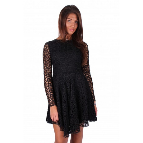 lace skater dress long sleeve