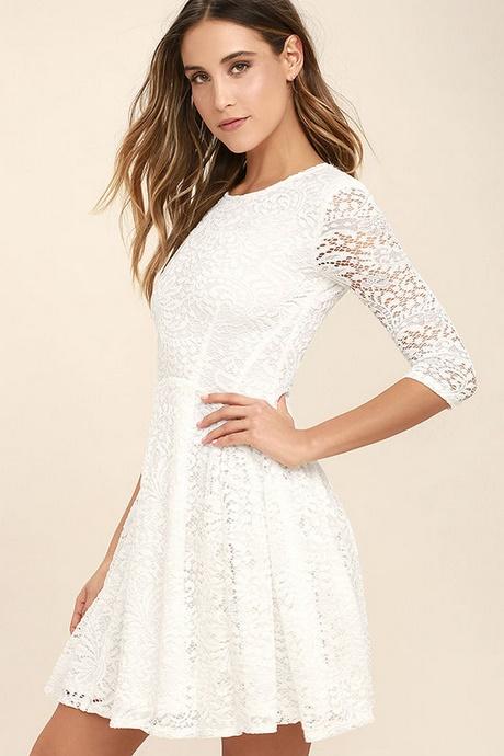Lace White Skater Dress