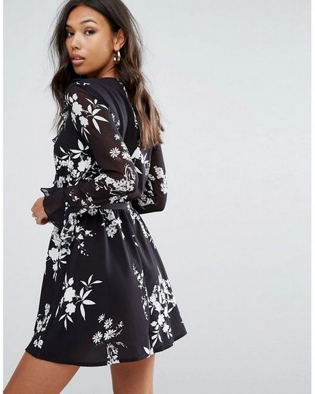 Long Sleeve Floral Skater Dress