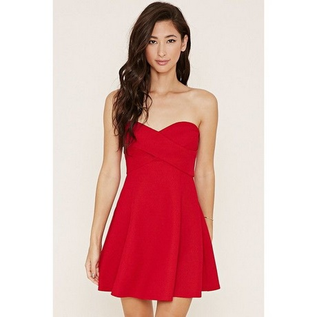 Strapless Red Skater Dress